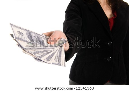 business woman holding some serious cash in her hands