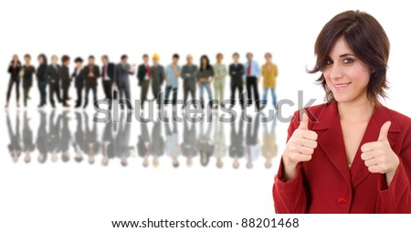 business woman in front of a group of people