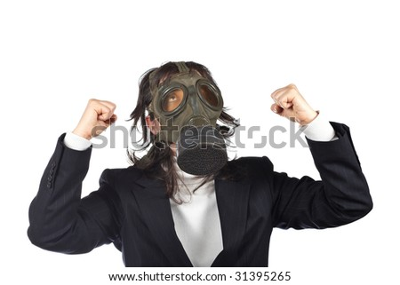 Business woman in gas mask isolated on white background