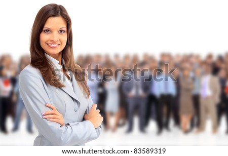 business woman in glasses with her team - focus on woman