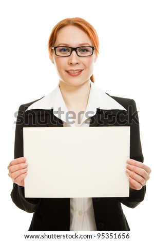 Business woman in glasses with the red haired showing blank signboard on a white background.