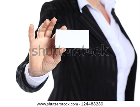 business woman in her 40s holding business card