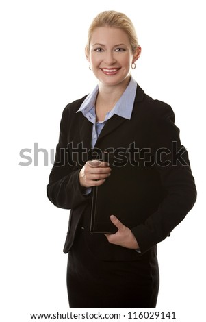 business woman in her 40s on white isolated background