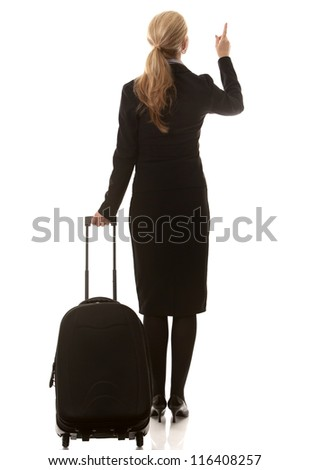 business woman in her 40s with suitcase on white background