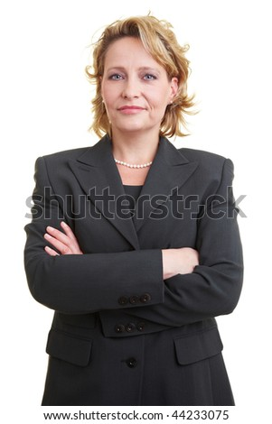 Business woman in jacket with crossed arms #44233075