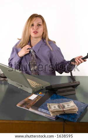 Business woman in office with earn blur money in first plane