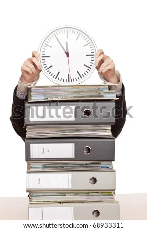 Business woman in office with folder stacks is under time pressure. - stock photo
