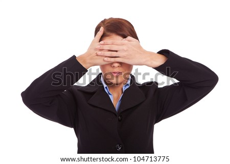 business woman in the See No Evil pose over white background
