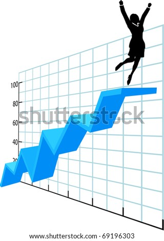 Business woman investor or executive jumps to celebrate success on top of a graph growth profit chart