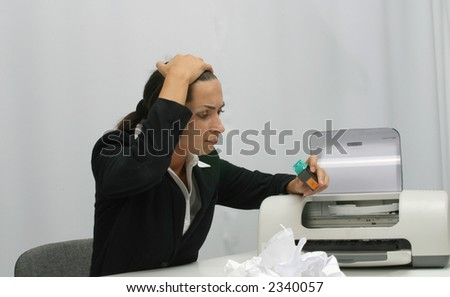 Business woman is printing in office, copy, duplicate, calling