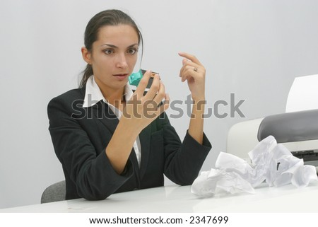 Business woman is printing in office, copy, duplicate, calling - stock photo