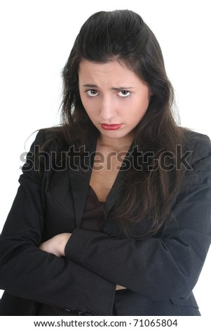 Business woman is very sad over white