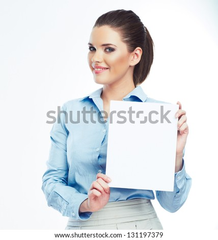 Business woman isolated portrait . Smiling woman show  big blank board .