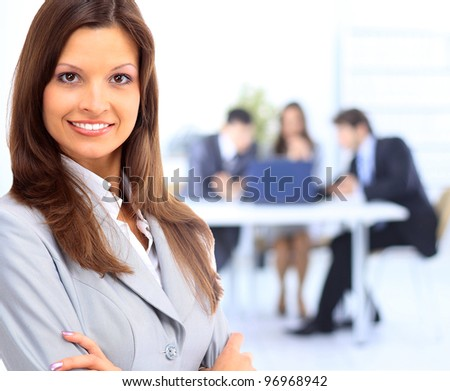 business woman leading a corporate team