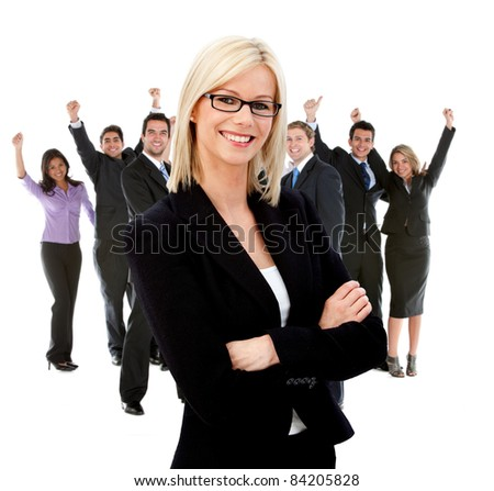 Business woman leading a successful corporate group ? isolated