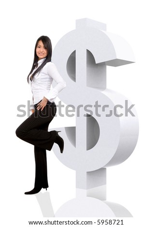 business woman leaning on a dollar sign isolated over a white background