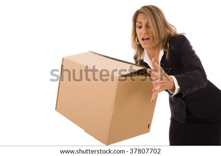 Business woman let falling a cardboard box