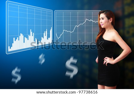 Business woman look at Stock exchange graph report