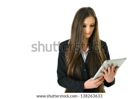 Business Woman Looking at her Tablet