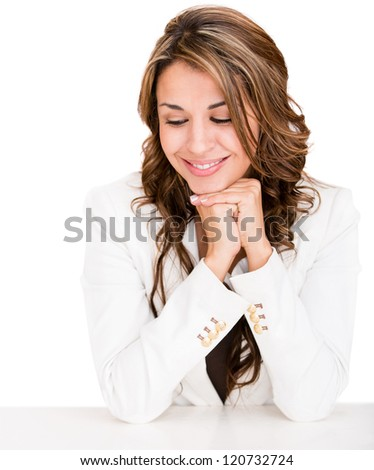 Business woman looking at the desk - isolated over a white background