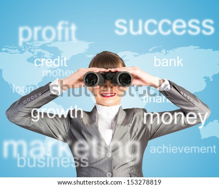 business woman looking through binoculars, concept search solutions in business