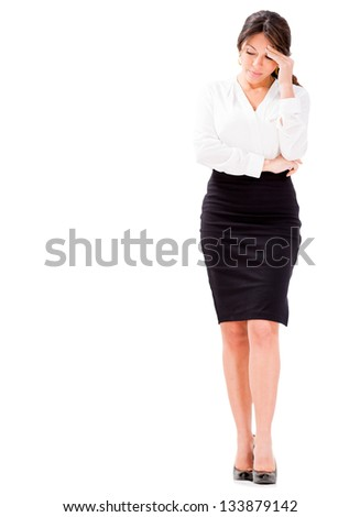 Business woman looking very worried - isolated over white