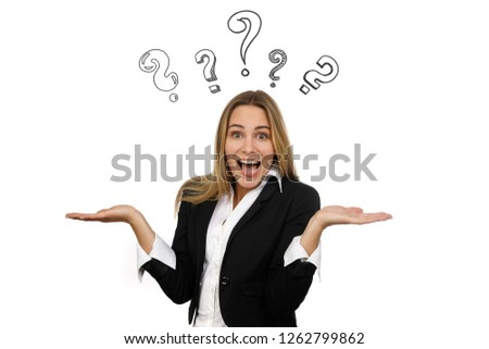 Business woman looks undecided and is surrounded by drawn question marks