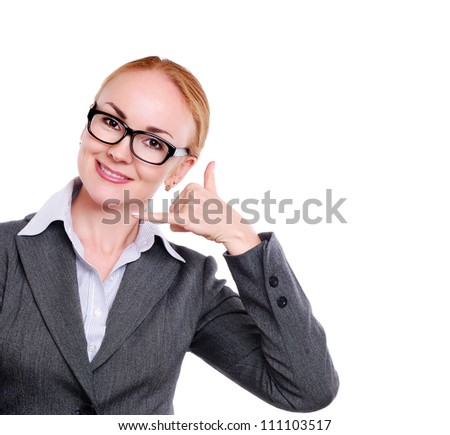 Business woman making a call gesture