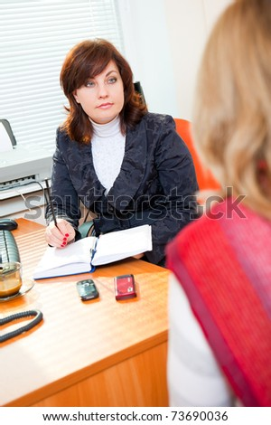 Business woman meets with a colleague on business