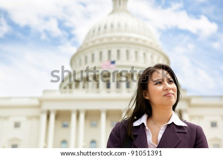 Business woman on Capitol Hill in Washington DC