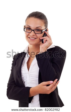 Business woman on Phone on a white background