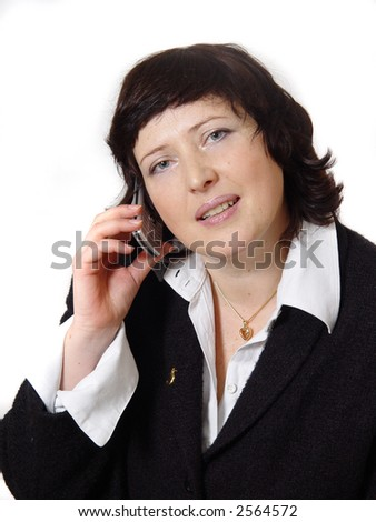 Business woman on telphone to call up