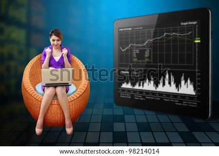Business woman on the chair and present the stock graph report