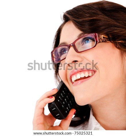 Business woman on the phone taking a call ? isolated