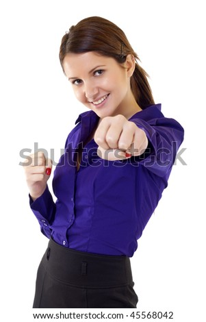 business woman on white getting into a fight