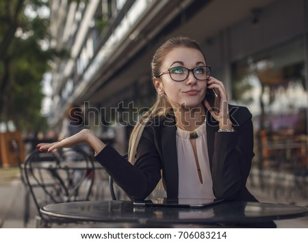 Business woman or teacher talking on the cellphone emotionally, distrust, skeptic, rumor, I told you so expression, rolling eyes up Сток-фото ©