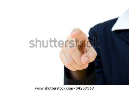 business woman pointing at something.