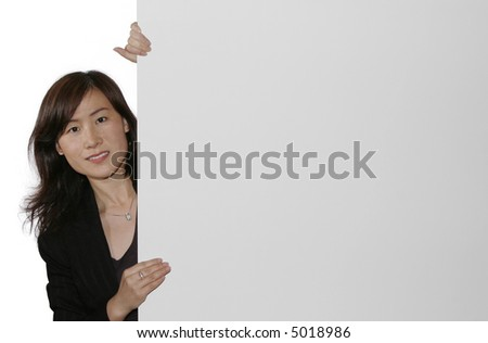 Business Woman Pointing On A Board, White Background