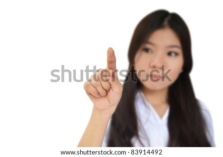 Business woman pointing to something isolated on white background