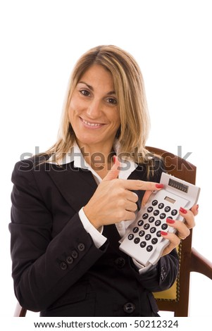 Business woman pointing to the calculator?s screen
