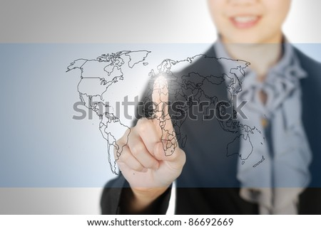 Business woman pointing world map screen