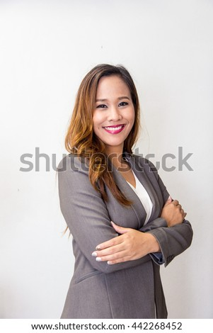 Business woman portrait. Crossed arms. #442268452