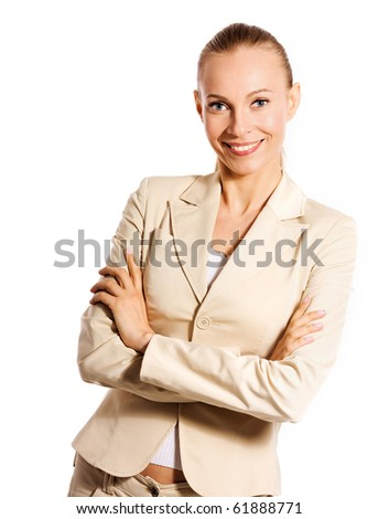 Business woman portrait isolated on white