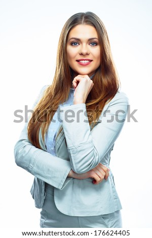 Business woman portrait, Isolated white background. Corporate business style suit. #176624405