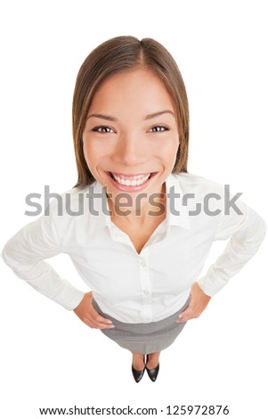 Business woman portrait smiling. Happy businesswoman in high angle view isolated on white background. Mixed race ethnic Asian Chinese / Caucasian businesswoman standing in full length.