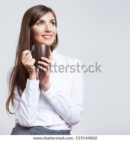 Business woman portrait with cup , isolated. Female model with long hair.