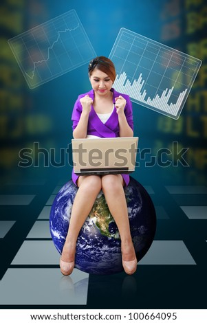 Business woman present the Stock graph report : Elements of this image furnished by NASA