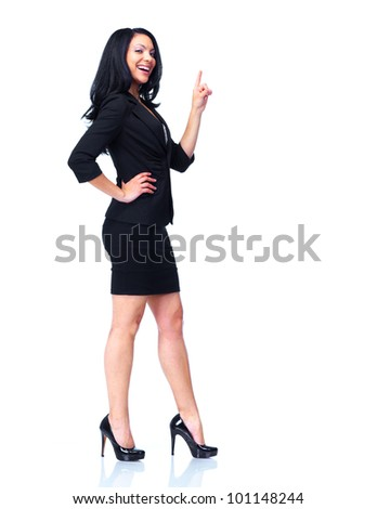 Business woman. presenting a copyspace. Over white background.