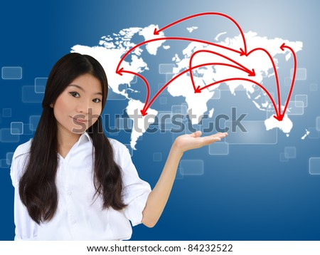 Business woman presenting network on world map
