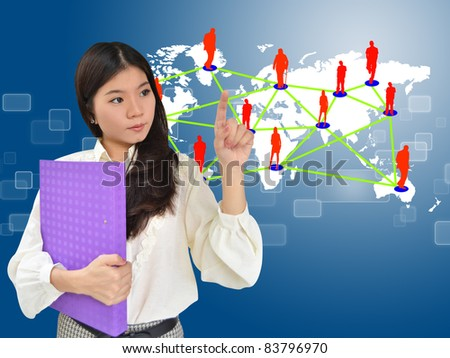 Business woman presenting social network on world map